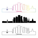 Denver V2 skyline linear style with rainbow