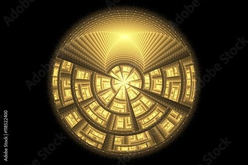 Plakat fractal Golden ball
