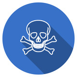 Flat design blue round web skull vector icon