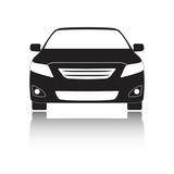 Fototapety Car front icon. Black vehicle silhouette isolated on white background. Vector illustration.