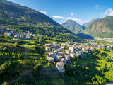 Sondrio - Valtellina (IT) - Panoramica aerea dei vigneti in Frazione Sant