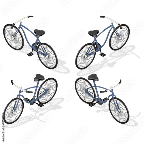 Deurstickers Fietsen Bicycle transportation. Vehicle forr infographic and game design. Isometric illustration with shadows