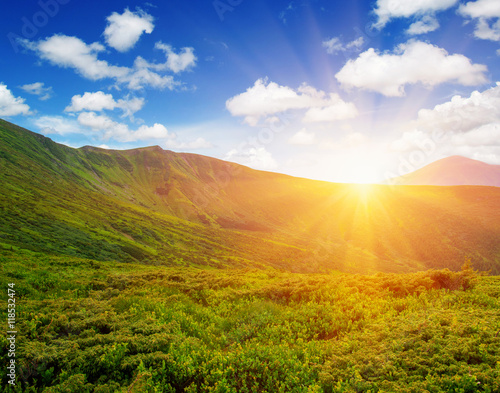 Mountain with the sun