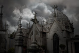Dramatic cloudy cemetery
