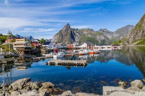 Poster Picturesque harbor of Hamnoy Lofoten Islands, North Norway