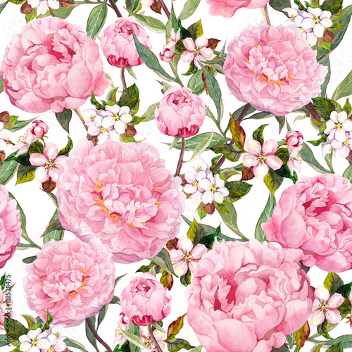Cotton fabric Peony flowers, sakura. Floral seamless background. Watercolor