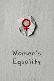 female symbol and text womens equality