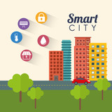 smart city trees street building technology app icon set. Flat and Colorful illustration. Vector illustration