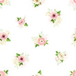 Vector seamless pattern with pink and white lisianthuses, ranunculus, hydrangea and lily-of-the-valley flowers.