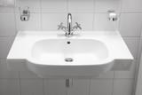 classic white sink with chrome faucet, modern bathroom sink, white big elegant washbasin