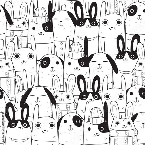 Naklejka rabbit seamless pattern