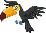 Cartoon funny toucan flying - 118591664
