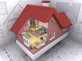 3D isometric view the residential house on architect drawing.