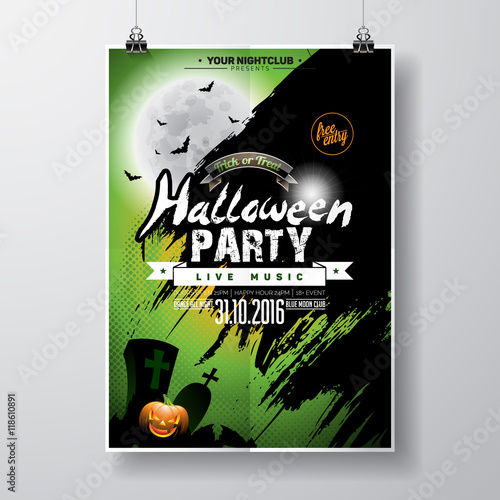 Zdjęcia na płótnie, fototapety, obrazy : Vector Halloween Party Flyer Design with typographic elements and pumpkin on green background. Graves, bats and moon.