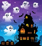 Haunted house silhouette theme image 7
