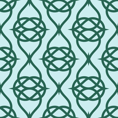 Geometric abstract pattern on green background. Vector seamless texture.
