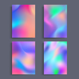 Fototapety Fluid colors backgrounds set. Holographic effect. Applicable for gift card,cover,poster,brochure,magazine. Vector template.