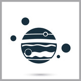 Jupiter satellites icon on the background
