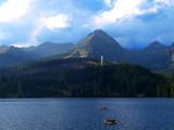 Beautiful clear mountain lake or tarn in Slovakia in Vysoke Tatry - Strbske Pleso