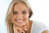 Fototapety Portrait Beautiful Happy Woman With White Teeth Smiling. Beauty. High Resolution Image