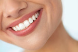 Closeup Of Beautiful Smile With White Teeth. Woman Mouth Smiling. High Resolution Image - 118631093