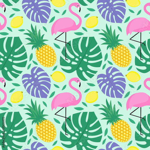 Materiał do szycia Seamless decorative background with flamingo, pineapple, lemons and green palm leaves. Tropical monstera leaves pattern with tropical fruits and exotic bird. Design for textile, wallpaper, fabric etc.