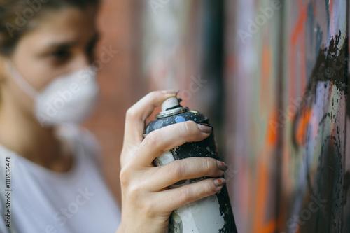 Street artist at work Poster