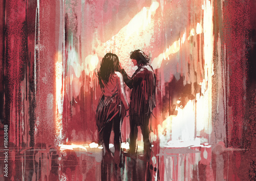 young couple in love outdoor,illustration,digital painting