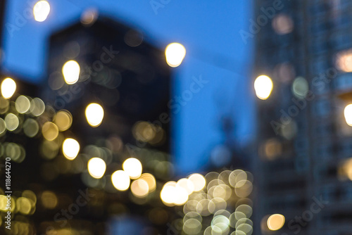 Blurry out of focus New York City lights at night.
