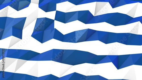 Zdjęcia na płótnie, fototapety, obrazy : Greece 3D Wallpaper Animation, National Symbol, Low Polygonal Glossy Origami Style
