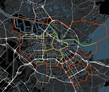 Black and white Amsterdam map vector. Netherlands roads