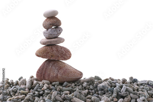 Balance stone on pile rock on white background. Poster