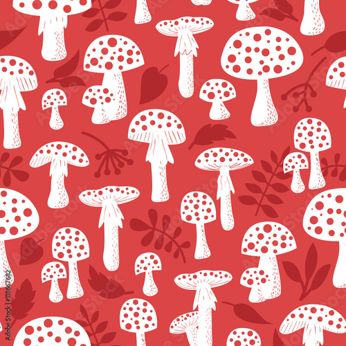Cotton fabric Amanita vector seamless pattern