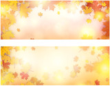 Autumn banner with maple leaves.