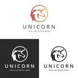 Unicorn logotype. Logo template suitable for businesses and product names. Easy to edit, change size, color and text.