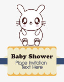 rabbit cute animal cartoon baby shower card icon. Colorful and flat design. Vector illustration