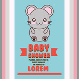mouse cute animal cartoon baby shower card icon. Colorful and flat design. Vector illustration