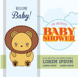 lion cute animal cartoon baby shower card icon. Colorful and flat design. Vector illustration