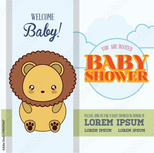 Zdjęcia na płótnie, fototapety, obrazy : lion cute animal cartoon baby shower card icon. Colorful and flat design. Vector illustration