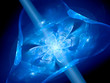 Blue glowing flower shaped multidimensional gate in space