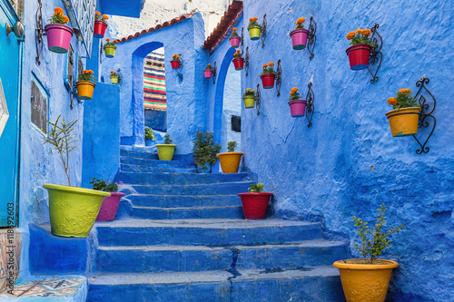 Fotobehang Marokko Blue staircase and wall decorated with colourful flowerpots, Chefchaouen medina in Morocco.