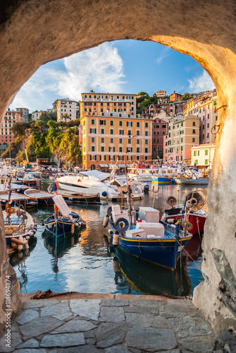 Glimpse of the small harbor of Camogli, near Genoa Poster