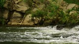 Rocky shore of mountain river