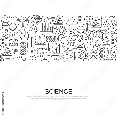 Seamless Border with Science Black Line Icons