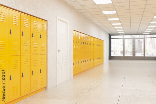 Poster Lockers and door in school corridor