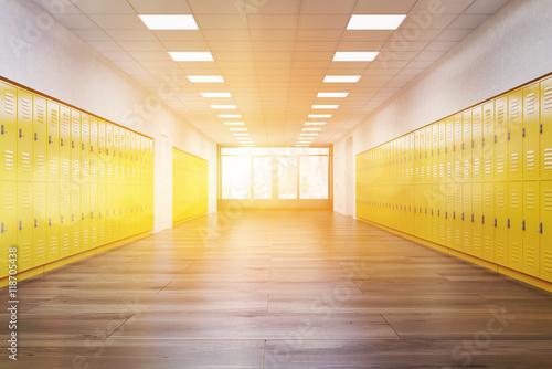 Poster Sunlit school corridor