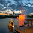 Colorful water fountains in front of downtown at Heartland of America Park in Omaha, Nebraska