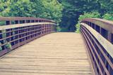 Retro looking old bridge in forest