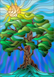 Illustration in stained glass style with tree on sky background and sun - 118714680