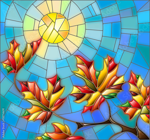 Naklejka Illustration in stained glass style with maple leaves on background sky and sun